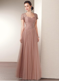 A-Line/Princess Sweetheart Floor-Length Tulle Mother of the Bride Dress With Beading Appliques Lace