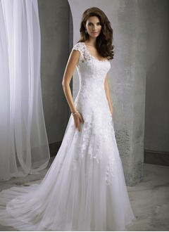 A-Line/Princess Scoop Neck Sweep Train Satin Tulle Wedding  ...