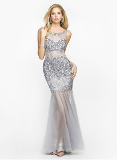 Trumpet/Mermaid Scoop Neck Floor-Length Satin Tulle Evening Dress With Beading Sequins