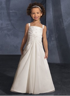 A-Line/Princess Square Neckline Sweep Train Chiffon Flower Girl Dress With Ruffle Beading