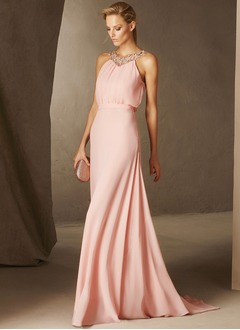A-Line/Princess Scoop Neck Sweep Train Chiffon Evening Dress With Beading