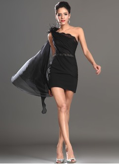 Sheath/Column One-Shoulder Short/Mini Chiffon Cocktail Dress With Lace Beading Feather