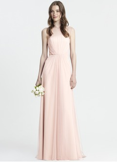 A-Line/Princess Scoop Neck Floor-Length Chiffon Tulle Bridesmaid Dress With Ruffle