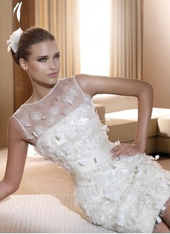 Sheath/Column Scoop Neck Short/Mini Organza Satin Wedding Dress With Feather