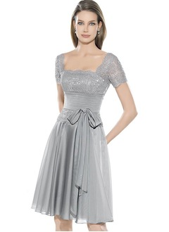 A-Line/Princess Scoop Neck Knee-Length Chiffon Charmeuse Evening Dress With Ruffle Lace