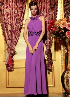 A-Line/Princess Halter Floor-Length Chiffon Evening Dress With Flower(s)