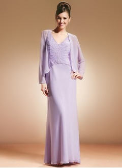 Sheath/Column V-neck Floor-Length Chiffon Mother of the Bride Dress With Lace Beading