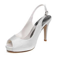 Satin Peep Toe Platform Sandals Slingbacks With Buckle  ...