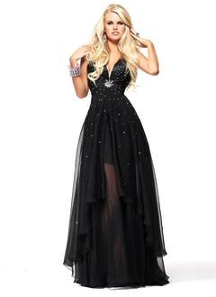 Ball-Gown V-neck Floor-Length Chiffon Prom Dress With Beading Sequins