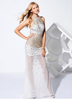 Sheath/Column Halter Floor-Length Chiffon Prom Dress With Beading