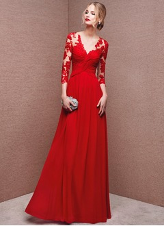 A-Line/Princess V-neck Floor-Length Chiffon Tulle Evening Dress With Appliques Lace