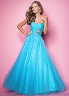 Ball-Gown Strapless Sweetheart Floor-Length Satin Tulle Prom Dress With Ruffle Beading