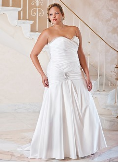 A-Line/Princess Strapless Sweetheart Sweep Train Satin Wedding Dress With Ruffle Beading