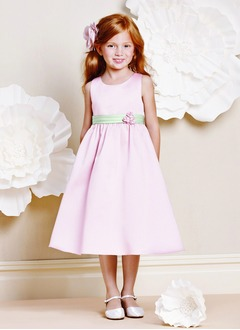 A-Line/Princess Scoop Neck Tea-Length Satin Flower Girl Dress With Ruffle Sash Beading Flower(s)
