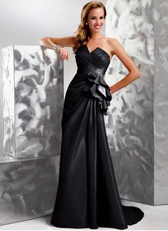 A-Line/Princess Strapless Sweetheart Sweep Train Taffeta Evening Dress With Ruffle Beading