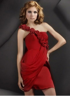 Sheath/Column One-Shoulder Short/Mini Chiffon Charmeuse Homecoming Dress With Ruffle