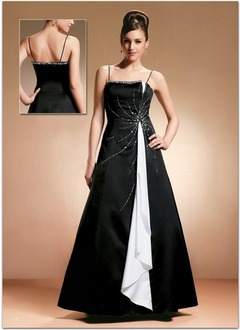 A-Line/Princess Strapless Floor-Length Chiffon Satin Mother of the Bride Dress With Beading Cascading Ruffles