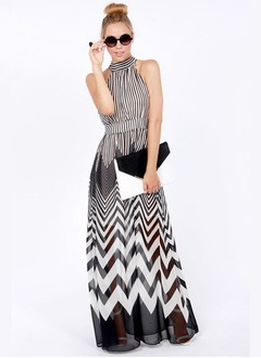 As Picture Chiffon Stripe Sleeveless Maxi Dresses