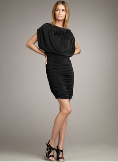 Sheath/Column Scoop Neck Short/Mini Jersey Cocktail Dress With Ruffle