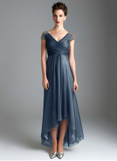 Empire V-neck Asymmetrical Tulle Mother of the Bride Dress With Ruffle Beading
