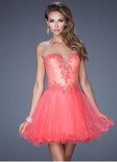 A-Line/Princess Strapless Sweetheart Short/Mini Satin Tulle Lace Prom Dress With Beading Appliques Lace