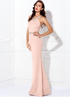 Sheath/Column Halter Scoop Neck Floor-Length Charmeuse Evening Dress With Beading