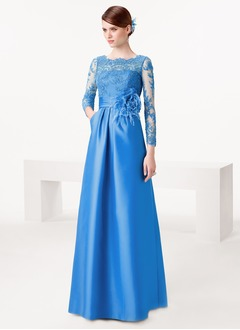A-Line/Princess Scoop Neck Floor-Length Satin Lace Evening Dress With Lace Flower(s)