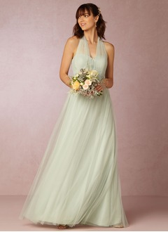 A-Line/Princess V-neck Floor-Length Tulle Bridesmaid Dress  ...