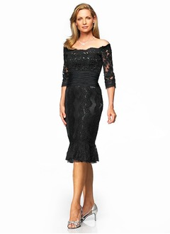 Sheath/Column Off-the-Shoulder Knee-Length Lace Evening Dress With Ruffle