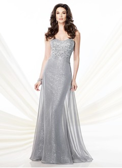 Trumpet/Mermaid Strapless Sweetheart Sweep Train Chiffon Sequined Mother of the Bride Dress With Beading Appliques Lace