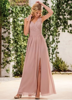 A-Line/Princess V-neck Floor-Length Chiffon Lace Bridesmaid Dress With Ruffle Split Front