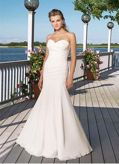 Trumpet/Mermaid Strapless Sweetheart Sweep Train Chiffon Satin Wedding Dress With Ruffle Lace Beading