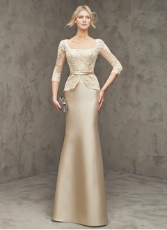 Sheath/Column Square Neckline Floor-Length Satin Lace Evening Dress With Lace