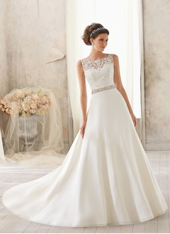 A-Line/Princess Scoop Neck Court Train Satin Wedding Dress With Beading Appliques Lace