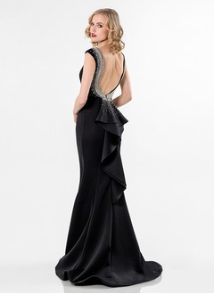 Trumpet/Mermaid Scoop Neck Sweep Train Satin Evening Dress With Beading Cascading Ruffles