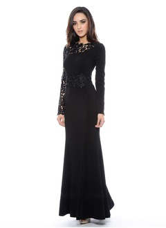 Sheath/Column Scoop Neck Floor-Length Chiffon Lace Evening Dress With Appliques Lace