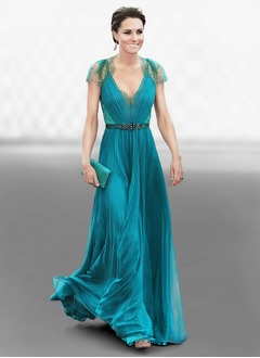 A-Line/Princess V-neck Floor-Length Chiffon Lace Evening Dress With Ruffle