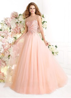 Ball-Gown Scoop Neck Court Train Tulle Prom Dress With Beading Appliques Lace