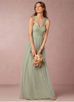 A-Line/Princess V-neck Floor-Length Tulle Lace Bridesmaid Dress With Ruffle (0075092008)