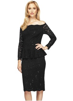 Off-the-Shoulder Knee-Length Lace Mother of the Bride Dress