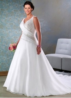 A-Line/Princess V-neck Cathedral Train Organza Satin Wedding Dress With Ruffle Beading