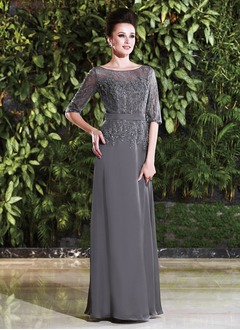 Sheath/Column Scoop Neck Floor-Length Chiffon Lace Mother of the Bride Dress With Beading