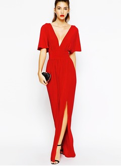 Sheath/Column V-neck Floor-Length Jersey Evening Dress With Split Front