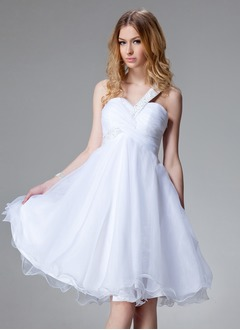 Empire One-Shoulder Knee-Length Organza Satin Homecoming Dress With Ruffle Beading