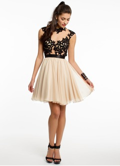 A-Line/Princess High Neck Short/Mini Chiffon Tulle Prom Dress With Beading Appliques Lace