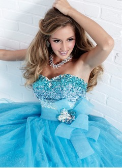 Ball-Gown Strapless Sweetheart Floor-Length Tulle Quinceanera Dress With Beading Crystal Brooch Flower(s)