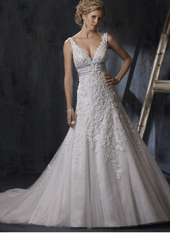 A-Line/Princess V-neck Chapel Train Satin Tulle Wedding Dress With Lace Sash Beading