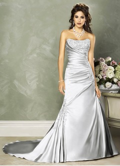 A-Line/Princess Strapless Chapel Train Charmeuse Wedding Dress With Ruffle Beading