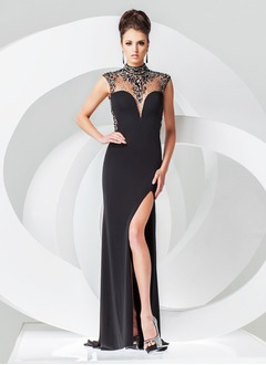 Sheath/Column High Neck Sweep Train Chiffon Tulle Evening Dress With Beading Split Front