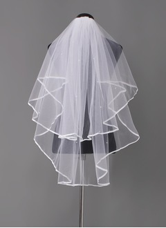 Two-tier Elbow Bridal Veils With Ribbon Edge (00605003691)